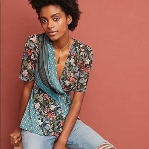 Anthropologie Tiny kimono style wrap floral blouse